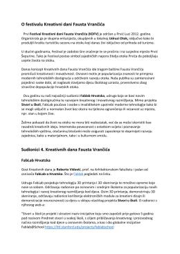 O festivalu Kreativni dani Fausta Vrančića