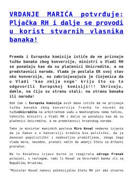 VRDANJE MARIĆA potvrđuje: Pljačka RH i dalje se