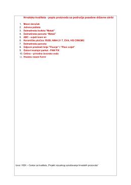 Hrvatska kvaliteta - popis proizvoda PPDS-a