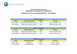 Raspored predavanja – SSiP