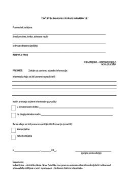 Zahtjev za ponovnu uporabu informacije - Industrijsko