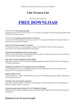 CIM TOVAREN LIST - INDEX | ebook PDF