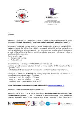 Poštovani, Hrabri telefon u partnerstvu s Hrvatskom udrugom