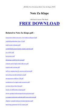 NOTE ZA KLAPE - INDEX | Free eBook