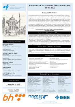 XI International Symposium on Telecommunications BIHTEL 2016
