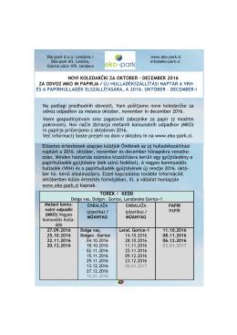 novi koledarčki za oktober - december 2016 za odvoz mko in papirja