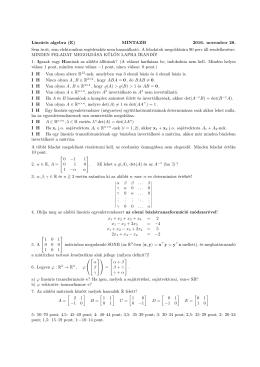 Lineáris algebra (E) MINTAZH 2016. november 28. Sem írott, sem
