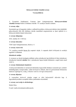Környezetvédelmi Akadályverseny Versenyfelhívás A Veszprémi
