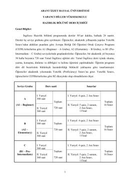 DERS İÇERİĞİ_ TÜRKÇE - Yabancı Diller Yüksekokulu