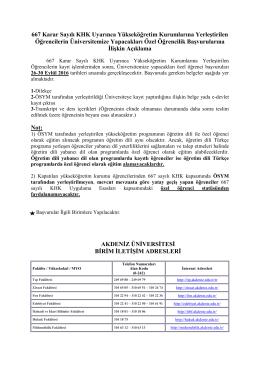 667 Karar Sayılı KHK Uyarınca Yükseköğretim Kurumlarına
