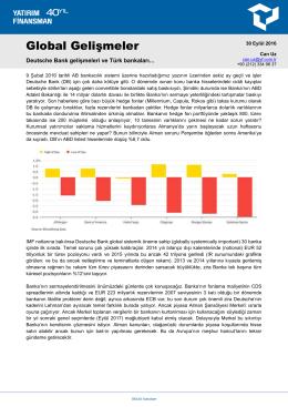 Global Gelişmeler - Yatırım Finansman