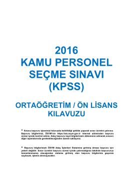 kpss - 2016 Öğrenci Seçme ve Yerleştirme Sistemi (ÖSYS) Kılavuzu