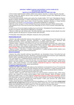 son başvuru:10/10/2016 erciyes üniversitesi rektörlüğünden