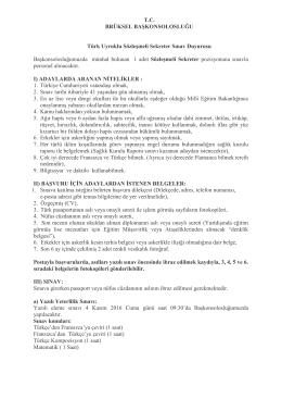 T.C. BRÜKSEL BAŞKONSOLOSLUĞU Türk Uyruklu Sözleşmeli