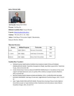 Yrd. Doç. Dr. Hakan BAYDUR - Sağlık Bilimleri Fakültesi