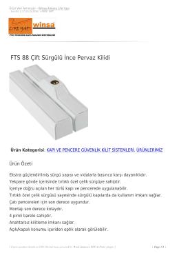 FTS 88 Çift Sürgülü İnce Pervaz Kilidi