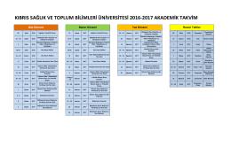 Akademik Takvim - Kıbrıs Sağlık ve Toplum Bilimleri Üniversitesi