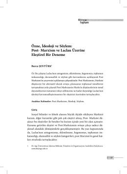 Özne, İdeoloji ve Söylem - Birey ve Toplum Sosyal Bilimler Dergisi