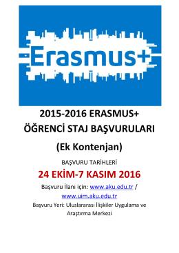 Erasmus+ Ek Kontenjan İlanı - Afyon Kocatepe Üniversitesi