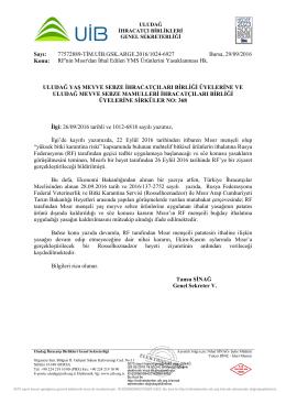 Rf`nin Mısır`dan İthal Edilen YMS Ürünlerini Yasaklanması Hk.