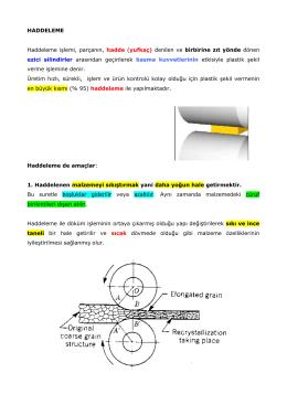 HADDELEME Haddeleme işlemi, parçanın, hadde (yufkaç) denilen