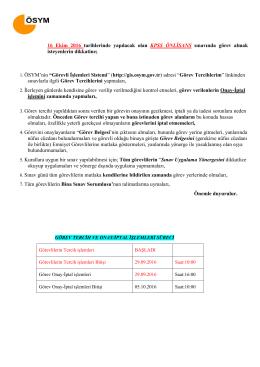 16 Ekim 2016 tarihlerinde yapılacak olan KPSS ÖNLİSANS