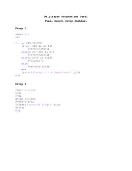 Bilgisayar Programlama Dersi Final Sınavı Cevap Anahtarı Cevap 1