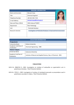 PERSONEL INFORMATION Name and Surname Meryem Kaya Title