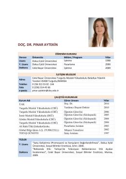 doç. dr. pınar aytekin - Celal Bayar Üniversitesi