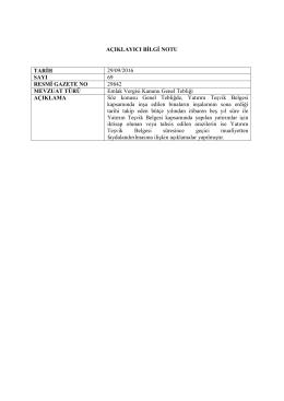 AÇIKLAYICI BİLGİ NOTU TARİH 29/09/2016 SAYI 69 RESMİ