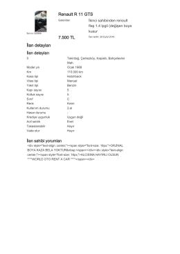 Renault R 11 GTS 7.500 TL İlan detayları