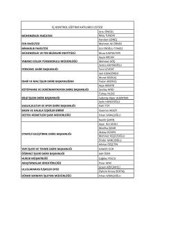 İç Kontrol Eğitimi Katılımcı Listesi