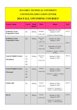 2016 fall upcomıng courses - İTÜ Yabancı Diller Yüksekokulu