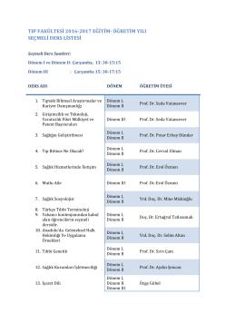 öğretim yılı seçmeli ders listesi