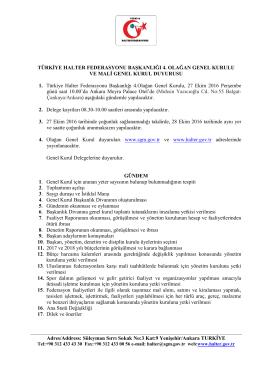 türkiye halter federasyonu genel kurul çağrı ve gündemi