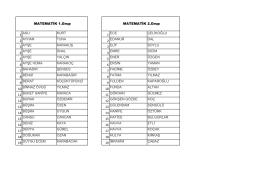 matematik grubu öğrenci listeleri