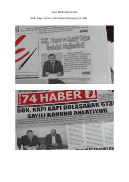 SGK Bartın Basınında 6736 sayılı kanun Bartın basınında geniş yer