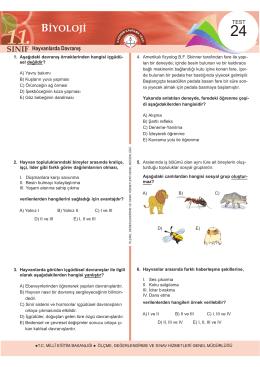 Hayvanlarda Davranış - Ölçme, Değerlendirme ve Sınav Hizmetleri