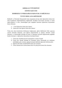 kırıkkale üniversitesi eğitim fakültesi rehberlik ve psikolojik