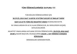Genel AİİT ve Türk Dili Dersleri ile ilgili Muafiyet Sınavı Duyurusu