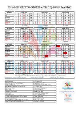 2016-2017 Yılı Çalısma Takvimi