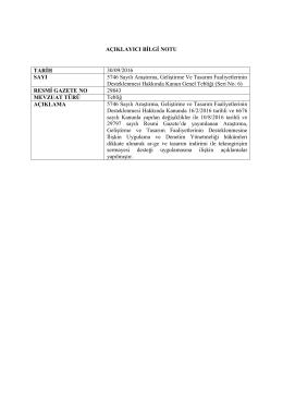 AÇIKLAYICI BİLGİ NOTU TARİH 30/09/2016 SAYI 5746 Sayılı
