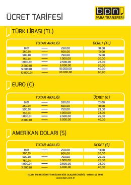 Yurtiçi Para Transferi Fiyat Tarifesi (Dolar, Euro, TL).indd