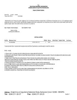 Fax: Tel: Adres: 0246 211 28 37 Araştırma ve Uygulama Hastanesi