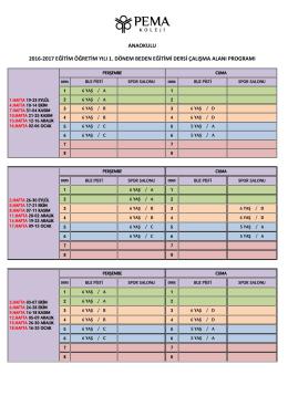 anaokulu 2016‐2017 eğitim öğretim yılı 1. dönem