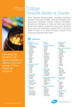 Pfizer Türkiye Terapötik Alanlar ve Ürünler