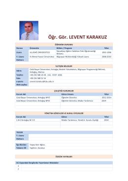 Öğr. Gör. LEVENT KARAKUZ - Kırkağaç Meslek Yüksekokulu