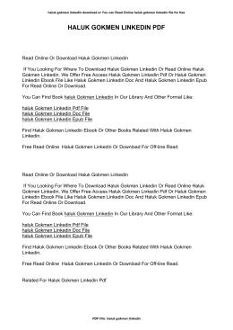 Haluk Gokmen Linkedin | Read online or Pdf eBook