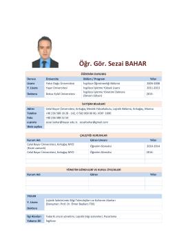 Öğr. Gör. Sezai BAHAR - Kırkağaç Meslek Yüksekokulu