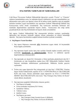 Staj Yazım Kuralları - Celal Bayar Üniversitesi